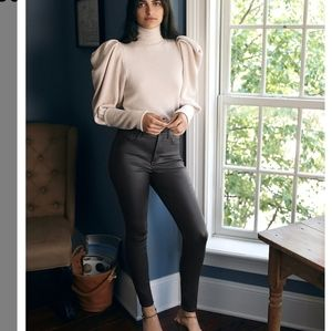 Express High Waisted Black Coated Skinny Jeans